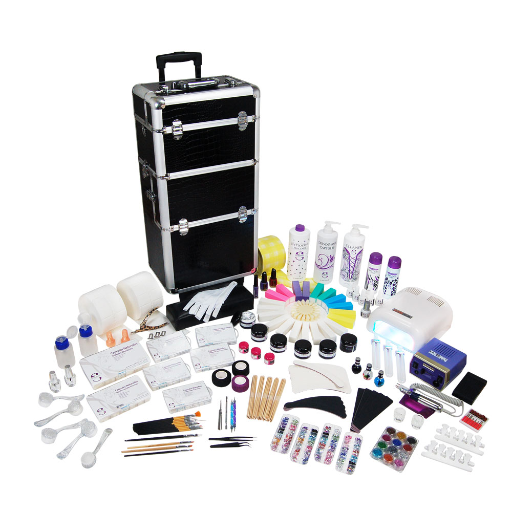 kit mobile 100 produits avec trolley manucure faux ongle gel uv nail art ocibe. Black Bedroom Furniture Sets. Home Design Ideas